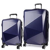 KONO 2 pcs diamond lines Travel Bag Trolleys PC Hard Shell Hand Luggage 4 wheels cabin suitcase 20'' and 28' (6671 navy 20