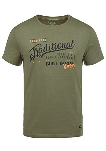 Blend Doppler Herren T-Shirt Kurzarm Shirt Mit Print Und Rundhalsausschnitt Aus 100% Baumwolle, Größe:L, Farbe:Dusty Olive Green (77203) -