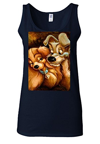 Lady and the Tramp Love Dog Cute White Women Vest Tank Top Bleu Foncé