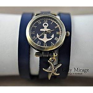 Maritime Armbanduhr mit Wickelarmband aus Leder und Seestern-Anhänger