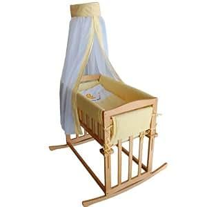 Berceau Baby Bee Honey, Berceau à bascule et 3 chambres de chevet en 1-Jaune