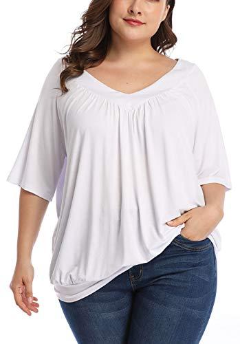 wudodo Damen Plus Größe Pleated Deep V Hals Ellenbogen Ärmel T Shirt Kurzarm Tunika Tops lose - Deep V-neck Tunika Top
