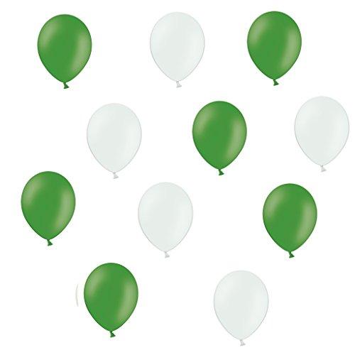 50 Premium Luftballons in Grün/Weiß - Made in EU - 100% Naturlatex somit 100% giftfrei und 100% biologisch abbaubar – Fußball Verein - für Helium geeignet - twist4®