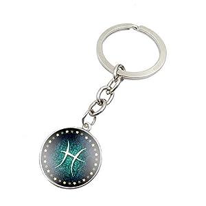 Fengteng 12 Sternzeichen Schlüsselring Stern Schlüsselanhänger Rund Form Horoskop Schlüsselbund als Geschenk