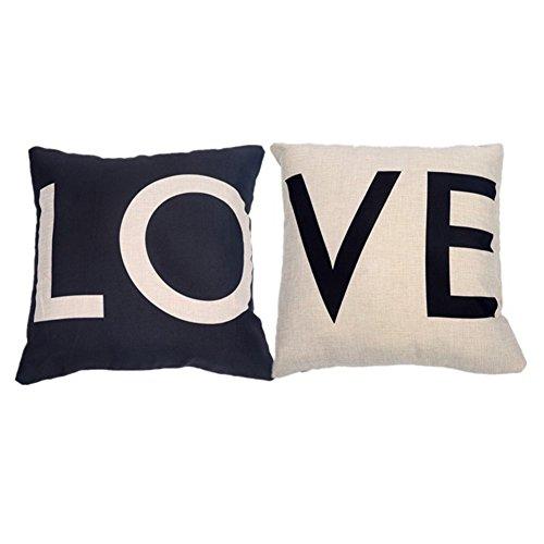 Laat set di 2 cuscini decorativi in lino decorativo lenzuola pillowcases decorative pillow soft pillowcases con letterpress love per la sedia outdoor indoor