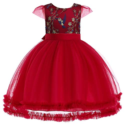 VJGOAL Mädchen Kleider, Kind Baby Süß Prinzessin Tutu Fliegender Ärmel Kleiner Vogel Blume Stickerei Mesh Spitze Party Kleiden Dresses for Girl ()
