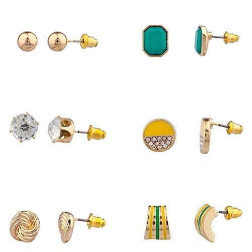 LUX Zubehör Love Knoten gelb und grün multi Ohrring Set (6-teilig)