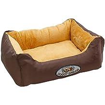 ECD Germany Cama para perro 49x37x17cm 2,5 kg en poliéster lavable a 30 grados Color beige-marrón Tamaño: S