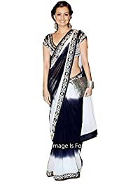 I-Brand Chiffon Saree With Blouse Piece (Isunsa2096_Black_Free Size)