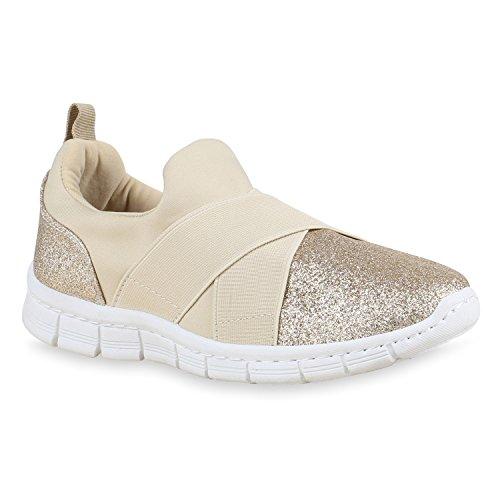 Damen Sportschuhe Slip-ons Slipper Glitzer Sneakers Runners Creme