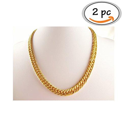 Gold Halsketten, Chain Rapper Gold, Rapper Goldkette, Hip Hop Goldkette, Vergoldete Halskette, Königskette Rock Punk Biker HipHop Rap, 2pc (Biker-halloween-kostüme)