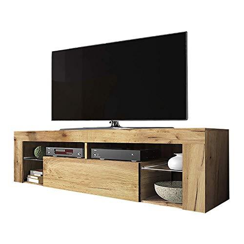 Selsey Bianko - TV-Lowboard / Fernsehschrank Stehend mit Klapptür , Holzoptik Eiche Lancaster, 35 x 140 x 51 cm