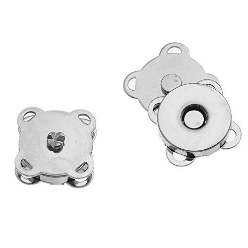 Little Sommersprosse 10 Sets, Silber, In magnetischer Verschluss zum Annähen, 15 mm --Great zum Nähen Kleidung, Basteln, Tasche, für Scrapbooking, etc. - Magnetische Snap Tasche
