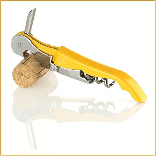 Naruba Premium Korkenzieher – Kellnermesser – Sommeliermesser - mit Doppelhebel, Flaschenöffner und Kapselschneider (Gelb)