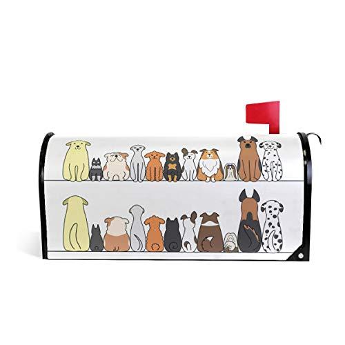 ZZKKO Couvertures de boîte aux Lettres Avant et arrière Motif Chiens de Dessin animé Multicolore M 20.8x18 inch Cartoon Dogs