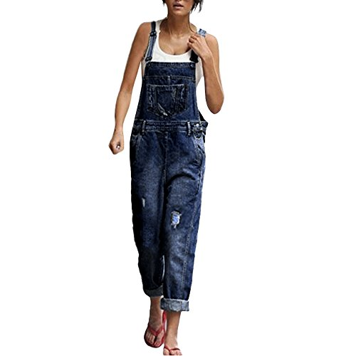 FRAUIT Damen Jeans Latzhosen Lose Loch Denim Hosen Bügel-Overall Spielanzug Hose Jeansoptik Klasse Vintage Jeans Lang Lässig Pants