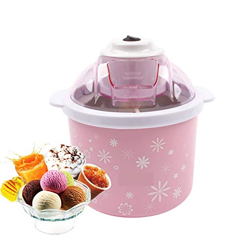 JUZEN Elektrische Mini Eismaschine 1.5L Haushalt Automatische DIY Weiche Gefrorene Obst Dessert Eismaschine Milchshake Gefrierschrank, Rosa - Rezepte Gefrierschrank