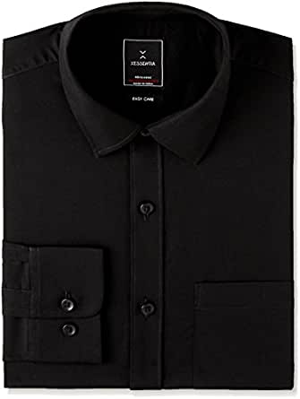 Xessentia Men's Formal Shirt (XFRSH001_XXX-Large_Black)