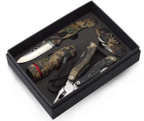 Jeu d'outils de camping pratiques multifonctions ‑ Motif camouflage ‑ Avec couteau, pince, lampe de poche