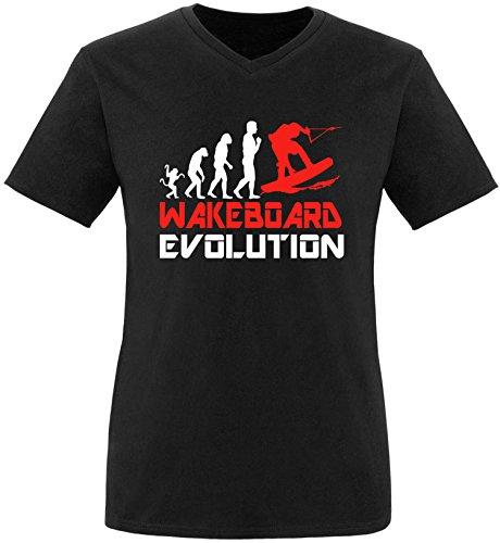 EZYshirt® Wakeboard Evolution Herren V-Neck T-Shirt Schwarz/Weiss/Rot