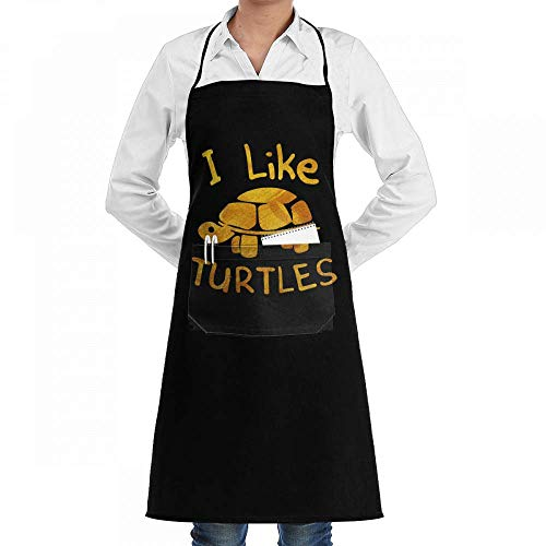 0318a9aef6c gfhfdhdfhtryh I Like Turtles Golden Professiona Adjustable Kitchen Chef Bib  Apron with Pockets for Men Women
