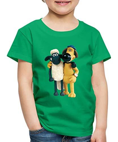 Spreadshirt Shaun Das Schaf Und Hund Bitzer Freunde Kinder Premium T-Shirt, 122/128 (6 Jahre), Kelly Green