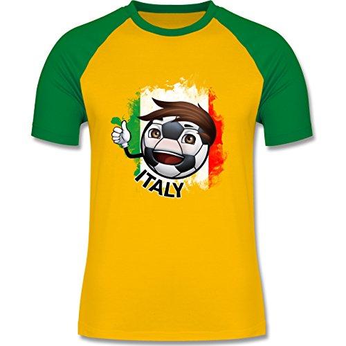 EM 2016 - Frankreich - Fußballjunge Italien - zweifarbiges Baseballshirt für Männer Gelb/Grün