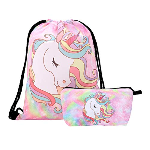 TENDYCOCO 2pcs Unicorn Drawstring Mochila Bouquet