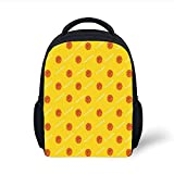 Kids School Backpack Basketball,Athletics League Theme Balls on Yellow Backdrop Goal Fun Game Match Decorative,Yellow Orange White Plain Bookbag Travel Daypack