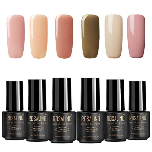ROSALIND UV Gel Nagellack Nude Color Lack Semi-permanenter Nagel-Gel-Lack-Top-Basislack benötigt 6 Flaschen 7ml