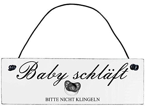 Shabby Chic Vintage Schild Baby schläft Dekoschild Türschild (Shabby Baby Chic)