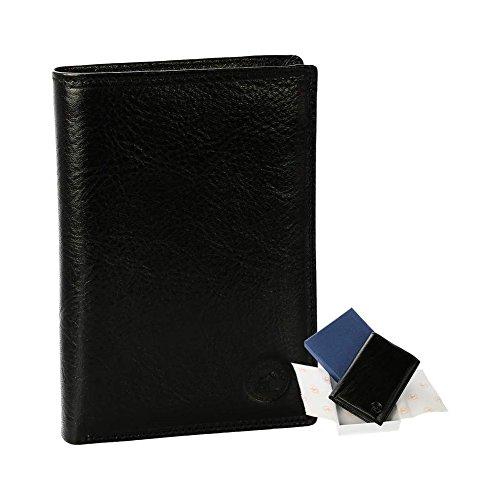 003842eb9cc Portefeuille en cuir noir N1282 - Portefeuille homme PACK cadeau parfait  pour Noël