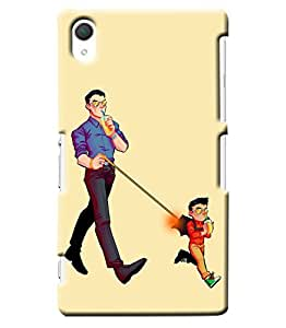 Blue Throat Kid And Dad Drinking Printed Designer Back Cover/ Case For Sony Xperia Z2
