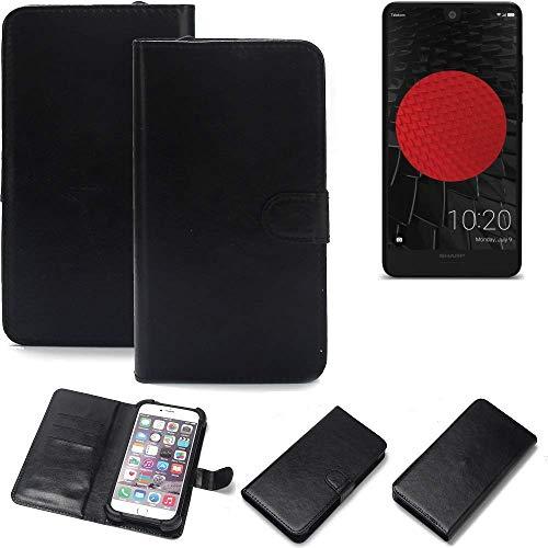 K-S-Trade® 360° Wallet Case Handyhülle Für Sharp Aquos C10 Schutz Hülle Smartphone Flip Cover Flipstyle Tasche Schutzhülle Flipcover Slim Bumper Schwarz, 1x