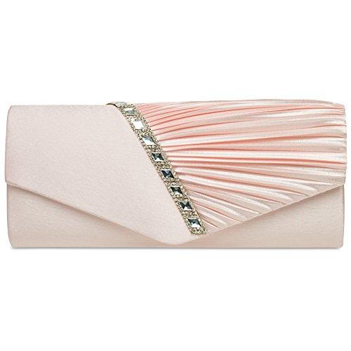 CASPAR TA391 elegante Damen Satin Clutsch Tasche Abendtasche mit Glitzer Strass und Falten, Farbe:rosa;Größe:One Size (Damen Tasche Satin)