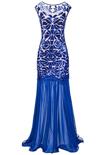 Metme Frauen der 1920er Jahre Perlen Pailletten Vintage Classic lange Flapper Gatsby Prom Kleid (1920er Der Jahre Perlen Kleid)