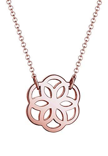 Elli Damen Halskette Ornament Blumen Anhänger Cut Out in 925 Sterling Silber 45 cm Länge