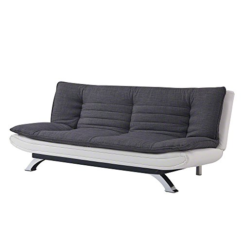 Unmatchable 3 Seater Sofabed in Duck Grey/Charcoal Fabric or Charcoal Fabric/White Faux Leather (Charcoal, Faux Leather)