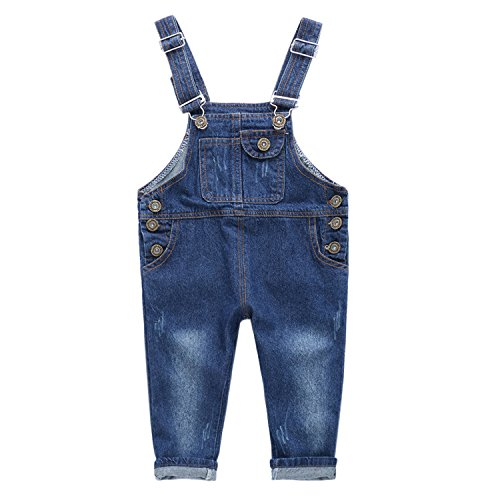De feuilles Toddler Baby Dungarees Denim Jeans Bib Overalls Jumpsuit For Boys Girls