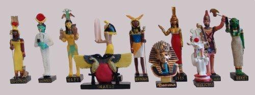 """Ancient Egypt Egyptian God set of 11 magazines with figurines resin statue size 5"""" high (Isis-Sothis, Khonsou, Hapy, Chai, Khnoum, Isis, Rechef, Heket, Uraeus, Tutenchamon, Herichef) [Amercom EG-7]"""