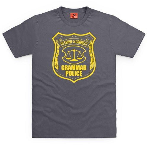 Grammar Police T-Shirt, Herren Anthrazit