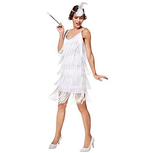 TecTake dressforfun Frauenkostüm Charleston Diva | Sexy Fransenkleid | Inkl. Haarband mit Kunstblume und Feder (XL | Nr. 301588)