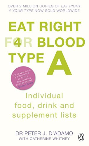 Eat Right for Blood Type A: Individual Food, Drink and Supplement Lists by Peter J D'adamo Dr. Peter J. D'Adamo (2011-08-01)