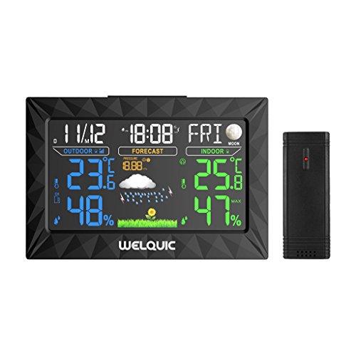 WELQUIC Station météo sans fil numérique avec grand écran couleur LCD, capteur extérieur, alarme de répétition, baromètre pour les prévisions météorologiques, mesure de l'humidité de la température