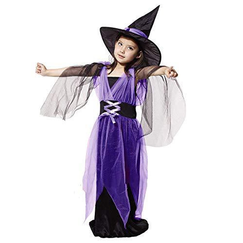 YMCHE Weihnachten Halloween Kostüm Hexenkostüm, Halloween Hexe Tüll Party Blumenmädchen Kleid mit Hexenhut (Kinder Klassische Vampir Kostüm)