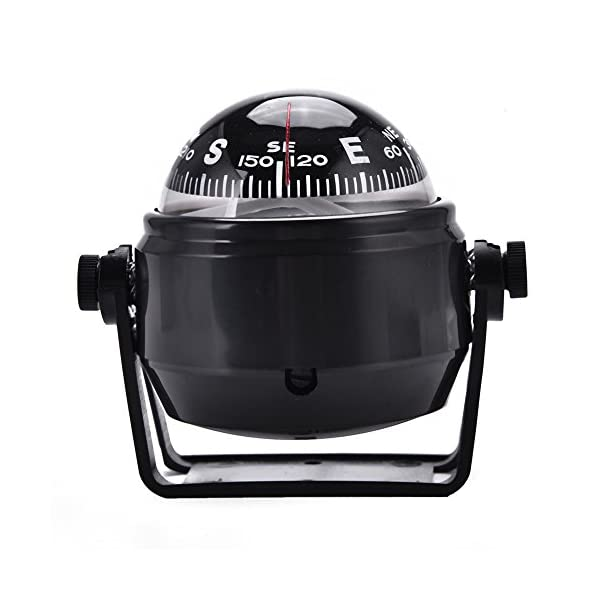 Dilwe Boat Compass, Black Electronic Adjustable Compass for Boat Night Vision 1