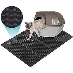 Alfombrilla Gato, DADYPET Mascotas Gatos Accesorios Juguetes para Gatos Alfombra Gatos Arenero Esterilla Gato Impermeable Fácil de limpiar (Negro)