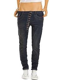 Bestyledberlin Damen Baggyjeans, Loose Fit Hosen, Stretch Boyfriend Jeans, besondere Knopfleiste j43f