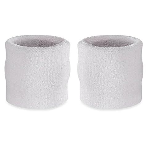 suddora Handgelenk-Schweißband, Baumwoll-Frottee, Armband für Sport, 1 Paar Weiß weiß