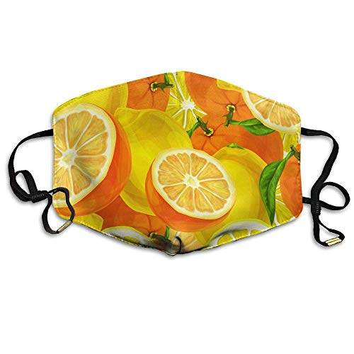 Monicago Einzigartige Unisex-Mundmaske, Gesichtsmaske, Orange Lemon Face Mask, Reuseable Polyester Face Mouth Mask Respirator Cycling Anti Dust Unisex Men Women Girls